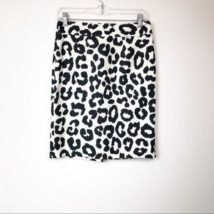 Ann Taylor Loft Black & White Animal Print Skirt